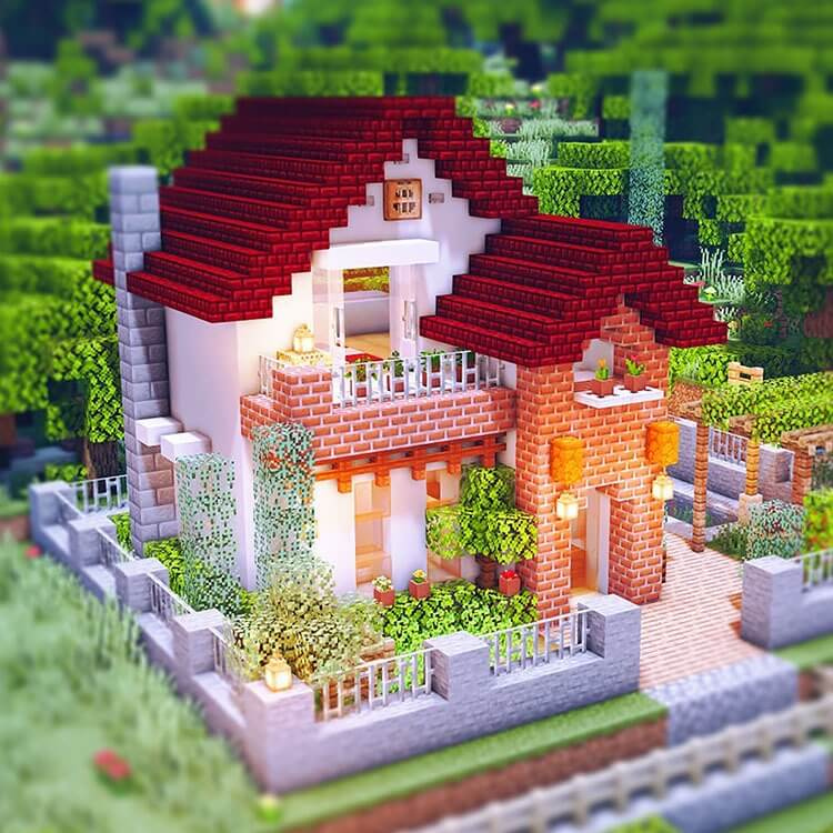Red roof house with a small garden (1)