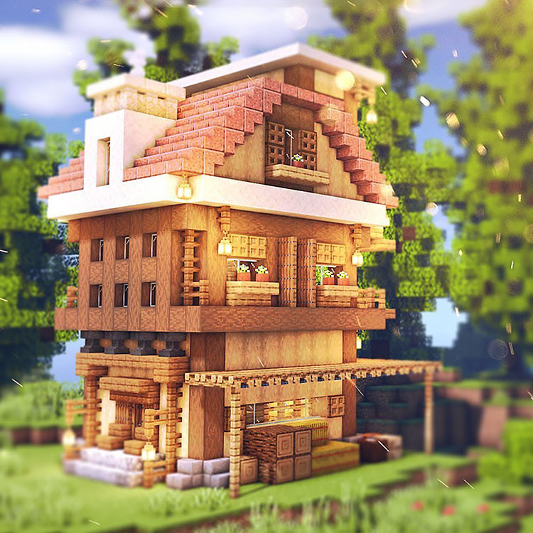 Three-Story Wooden House